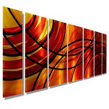 large wall paintingsBound by Fire  Red  Orange Modern Metal Wall Art by Jon Allen