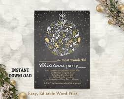Printable Christmas Card Templates Inspiration Christmas Party Invitation Card Chalkboard Printable Template