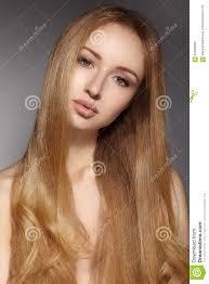 Manier Lang Haar Mooi Blond Meisje Gezonde Rechte Glanzende