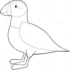 Coloring Pages Easy Coloring Animals For Kids Puffin Vector