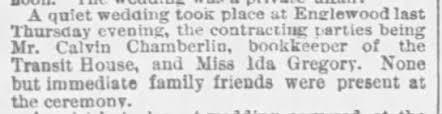 Ida Gregory and Calvin Chamberlain - 04.20.1879 - Chicago Tribune -  Chicago, Illinois - Newspapers.com
