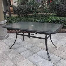 metal patio dining tables. rectangular boat-shape steel patio dining table (bronze) metal tables p