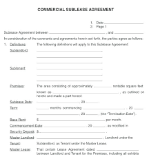 Sublease Form Sublease Template Free Commercial Sublease Template
