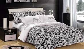2018 black white leopard skin animal print bedding set oil with