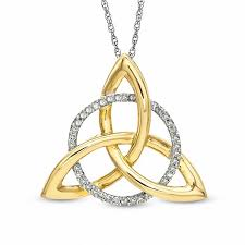 t w diamond circle and celtic trinity knot pendant in 10k white gold and 10k gold plate