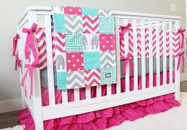 Bright Pink Girl Baby Bedding Teal Hot Pink Gray Crib