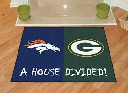 broncos packers nfl house divided area rug 34 x 45