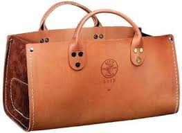 leather tool bag. another klein tool bag that i simply adore. after my knitting supplies, magazines leather
