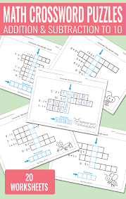 math crossword puzzles addition and subtraction to 10 worksheets for kindergarten and grade 1
