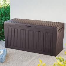 Comfy Wood Effect Plastic Patio Storage Box | Departments | DIY at B&Q.