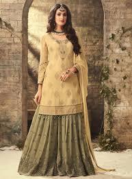 Designer Sharara Suits Beige Heavy Party Wear Designer Sharara Dress Online