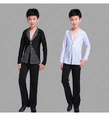 Shirts And Pants Boys Competition Latin Ballroom Dance Shirts And Pants Kids Children Black And White Colored Modern Dance Chacha Salsa Dance Sets Costumes Shirts