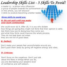 learn all about self improvement leadership skills list  leadership skills list are you thinking of developing or supporting a leadership program for young people forging full steam because there is nothing to