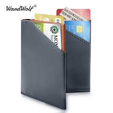 WardWolf <b>Men Thin Wallet Purse Slim</b> Genuine Cow Leather Small ...