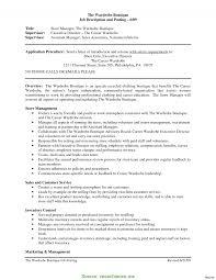 Store Manager Job Description Resume Complex Fashion Retail Store Manager Job Description Job Resume 100 22