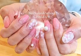 桜ネイル 春ネイル ピンク グラデーション カラグラ パール 横須賀ネイル