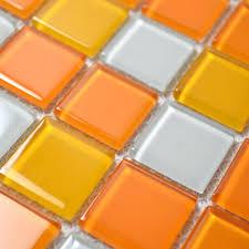 glass mosaic tiles white and orange mixed crystal glass tile kitchen backsplash wall tile stickers bathroom flooring