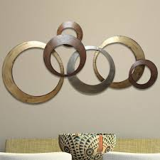 rings wall d cor on metal circle wall decor with abstract geometric metal wall art you ll love wayfair