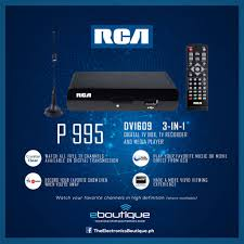 The Electronics Boutique - One of the hottest Digital TV Boxes in the  Philippines! RCA DV 1609 - P 995 3-in-1 Digital TV Box, TV Recorder and  Media Player Available in every