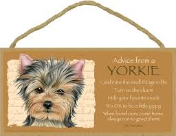 advice from a yorkie 5 x 10 mdf wood plaque sign licensed from your true nature site title