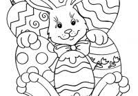 Easter Coloring Pages To Color Online With Cute Rabbit Eggs Basket
