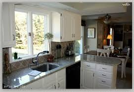 White Kitchen Cabinets With White Appliances Dark Brown Laminated