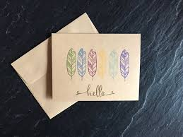 Feathers Blank Note Card With Embossed Hello Handmade