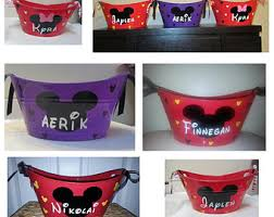 mickey or minnie mouse basket tote bucket storage gift basket