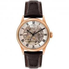 rotary watches official uk dealer francis gaye jewellers men s skeleton rose gold brown leather mechanical watch