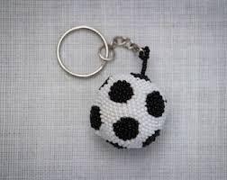 ball keychain. soccer ball keychain, keychain beaded