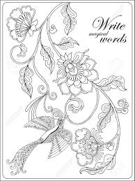 Vettoriale Fiori Decorativi E Uccelli Libro Da Colorare Per