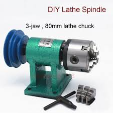 Woodworking Lathe Spindle with <b>3</b>-<b>jaw 80mm Chuck</b> Belt Pulley ...