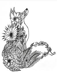 Small Picture Stylist Design Ideas Fox Animal Coloring Pages Fox Adult Coloring