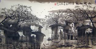 chinese landscape paintings ancient towns in a region of rivers 4