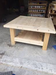 large square rustic coffee table square coffee table w planked top free diy plans