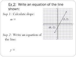 7 ex 2 write an equation of the line shown step 1 calculate slope m step 2 write an equation of the line y 0 2 3 3