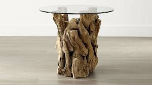 round glass end tables. Driftwood End Table With Round Glass Top In Tables + Reviews   Crate And Barrel