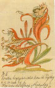 then lilies turned to tiger blaze amid the garden s tangled maze by walter crane 1845 1915
