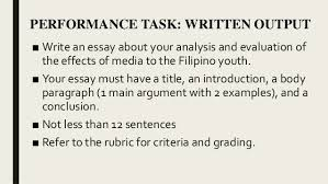 media and information literacy mil types of media part mass me  performance task written work 33
