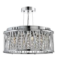 elise chrome 3 light fitting with crystal on drops