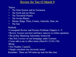 review for test topics the solar system and its  review for test 2 9 topics the solar system and its formation