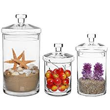 Decorative Glass Jars With Lids Amazon Set of 100 Clear Glass Kitchen Bath Storage Canisters 17