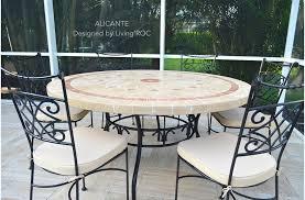 125 160cm garden mosaic round table natural stone top alicante