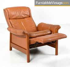 vintage danish modern teak and leather recliner