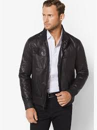 designer men s michael kors leather moto jacket in black on