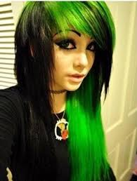 there s just something about this style of hair that makes me love it even though it s not 2008 plus that neon green is my favorite color