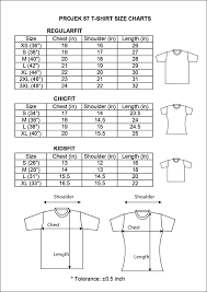 T Shirt Size Chart Projek57