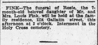 Baby Rosie Fink Funeral 1915 - Newspapers.com