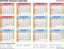 Free Printable School Calendar 2019 With Holidays 2019 20