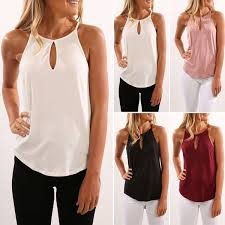 Buy <b>Women Summer</b> Sleeveless Sling <b>Solid Color</b> Tops Vest T-shirt ...